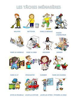 Vocabulaire des tâches ménagères (a1)                                                                                                                                                                                 Plus
