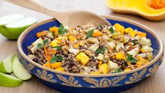 Lundberg' Wild Blend Rice With Apples And Butternut Squash. Finish Lundberg rice in fridge and add the blend from Pumpkin Seed wild @ brown rice blend to have enough (both cook on stove for @ 45 min.)  uses 1/2 c. Walnuts & 1 1/2 lb. cubed butternut squash.