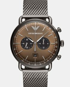 Official Emporio Armani Chronograph Gunmetal Mesh Strap Watch from House of Watches. Shop our luxury jewellery and watches, with Interest Free Credit. Patek Philippe, Mesh Bracelet, Bracelet Watch, Cool Watches, Watches For Men, Men's Watches, Fashion Watches, Watches Online, Datejust Rolex