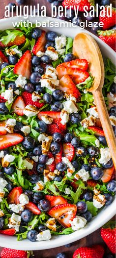 Arugula Salad is SO EASY and SO GOOD! This Arugula Salad Recipe is loaded with s… Arugula Salad is SO EASY and SO GOOD! This Arugula Salad Recipe is loaded with strawberries, blueberries, creamy goat cheese and drizzled with the best balsamic glaze! Arugula Salad Recipes, Best Salad Recipes, Vegetarian Recipes, Cooking Recipes, Healthy Recipes, Spinach Salad, Baby Spinach, Food Recipes Summer, Simple Salad Recipes