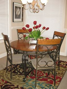 It was love at first sight! This beautiful rug added new life and rich color to our plain and ordinary dining room.