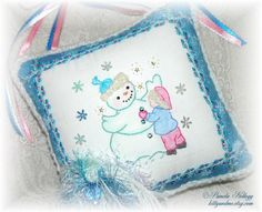 Christmas Door Hanging Pillow Snowman Hand by Kittyandme on Etsy