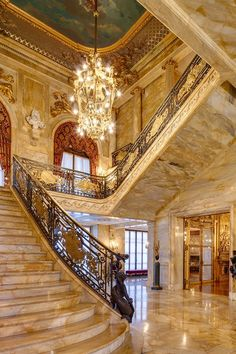 Grand staircase at Marble House Architecture Renovation, Architecture Design, Future House, My House, Grand House, Marble House, Marble Stairs, Marble Columns, Marble Foyer