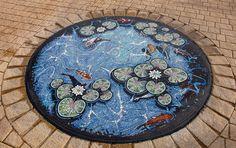 Lily pond floor mosaic