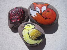 Garden rocks done in acrylics