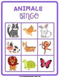Animals Bingo in English - Pets, wild animals, sea animals and farm animals English Activities For Kids, English Worksheets For Kids, Farm Animals Preschool, Sheep Pig, Animal Worksheets, Easel Activities, English Language Learning, Bingo Cards, Teacher Favorite Things