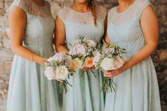 Bridesmaid Bouquets Flowers Roses Pink Peach Creative Festival Wedding http://benjaminstuart.co.uk/