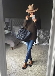 OLIVE GREEN SWEATER (UNDER A $25 - AS SEEN IN VIDEO BELOW) | LACE UP FLATS | HAT (AS SEEN IN VIDEO BELOW) | DENIM | CELINE HANDBAG Guys I am sooooo excited to tell you I am finally starting a youtu...