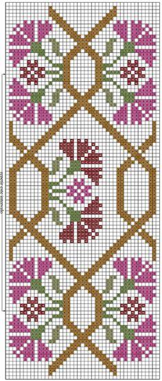 Цветочная вышивка крестом для полотенца. Схема (3) (297x700, 318Kb)