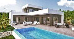 Benissa - Nieuw project voor moderne design villa welke wordt gebouwd met een prachtig uitzicht op zee Modern Houses, Case, Bauhaus, Bungalow, My House, Modern Design, Sweet Home, Villa, Exterior