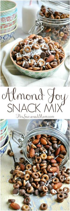 You only need 4 ingredients and about 4 minutes to toss together this salty-and-sweet ALMOND JOY SNACK MIX! Chocolate, almonds, and coconut galore... #FlavorYourAdventure #ad