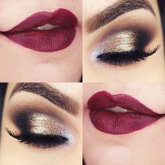 Berry lips, golden lids