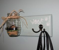 "Shabby Chic Hand Crafted Custom Dog Treat/Dog Leash Holder   11"" x 5 1/4"" x 1"" comes in white, black, sage green, vintage green, gold, barn red.      $24.99 Dog Treats, Leash Not Included"