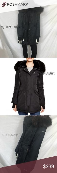 DVF Fur Parka Coat! thumb holes gloves NWT S saks Diane Von Furstenberg, NWT! 100% Authentic  Stunning NEW WITH TAGS warm parka. The warmth of a puffer coat with a more wear anywhere style upscale occasions to business to casual. PERFECT wardrobe essential. Mannequin shows actual jkt.  • Removable Purple/Black Fur Trim  • Hooded • Optional thumbhole Black Cuff Sleeves • Toggle Drawstring Adjustable Waist • Zipper front w/wind resistant placket • Rich Blue!  Sold Out Design. Rare Size Small…