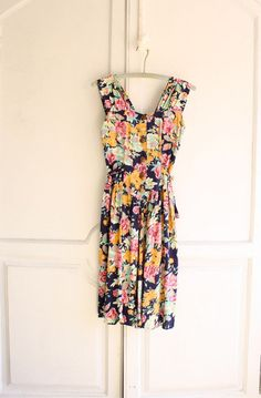 80s Floral rayon chintz dress - Bohemiennes' shop - Etsy