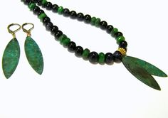 Blue Goldstone Emerald Beaded Necklace Set - pinned by pin4etsy.com