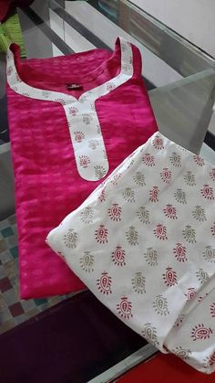 How to make different types of kurthi neck patterns - Simple Craft Ideas Chudithar Neck Designs, Chudidhar Designs, Neck Designs For Suits, Neckline Designs, Sleeves Designs For Dresses, Blouse Neck Designs, Salwar Suit Neck Designs, Kurta Neck Design, Kurti Designs Party Wear