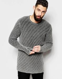 Image 1 of ASOS Jumper with Zig Zag Stitch Detail