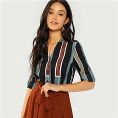 Multicolor Cotton V Cut Neck Striped Shirt Casual Roll Up Sleeve Button Placket Blouse