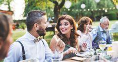 Guests eating wedding reception outside backyard stock photo (edit Brunch Wedding, Wedding Rsvp, Wedding Guest Book, Wedding Make Up, Wedding Reception, Wedding Planner, Wedding Day Quotes, Wedding Arch Flowers, Bridesmaid Makeup