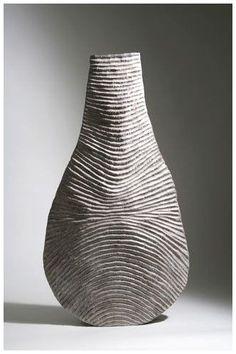 Décoration vase pot Curve H 20 cm D 6,5 cm blanc céramique Sandra Rich
