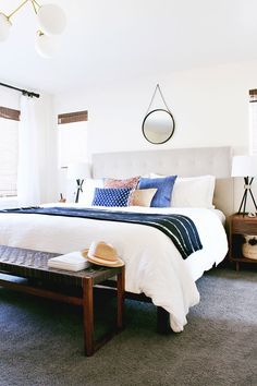 Interior stylist Anna Smith of Annabode + Co. reveals a recent master bedroom project with a modern, eclectic twist.