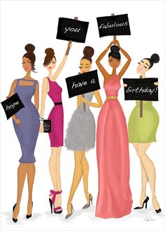 Birthday Signs Card - you can never have too many birthday wishes!  Send a shout-out for a fabulous birthday with this stylish art & fashion illustration card.