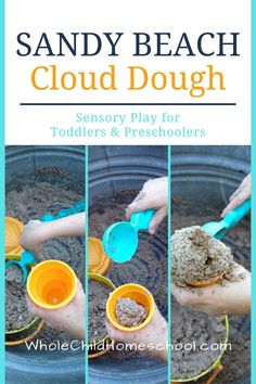 Can't get to the beach? Mix up this Sandy Beach Cloud Dough! It's the perfect consistency for making sand castles and sensory play. #preschooler #toddler #clouddough #summeractivity Sensory Activities, Hands On Activities, Sensory Play, Summer Activities, Toddler Activities, How To Make Sand, Cloud Dough, Sand Play, Toddler Preschool