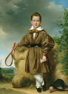 Boy Holding Battledore and Shuttlecock by Jan Adam Janszoon Kruseman (1804-1862)