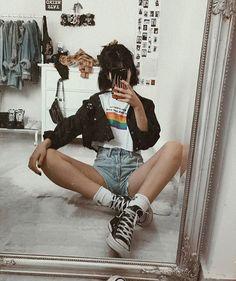 Indie Outfits, Edgy Outfits, Grunge Outfits, Grunge Fashion, Look Fashion, Teen Fashion, Retro Fashion, Fashion Models, Vintage Fashion