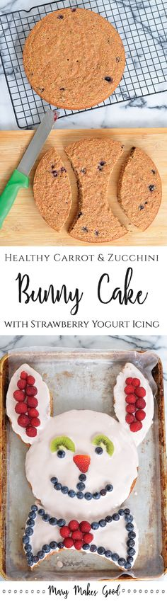 Carrot Zucchini Bunny Cake With Strawberry Yogurt Icing   A healthy version of a classic Spring and Easter treat. Made with whole wheat, fruits, and veggies!