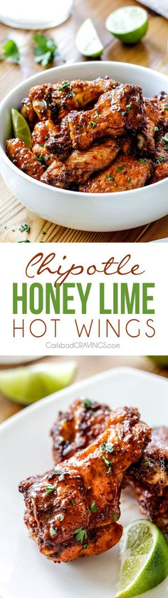 EASY Baked Chipotle Honey Lime Hot Wings smothered in a chipotle rub then bathed in an intoxicating honey lime hot sauce. Crowd pleasing addicting appetizer or meal!