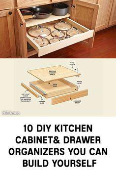 10 DIY Kitchen Cabinet & Drawer Organizers You Can Build Yourself Diy Kitchen Cupboards, Kitchen Cupboard Organization, Building Kitchen Cabinets, Kitchen Cabinet Drawers, Diy Kitchen Storage, Diy Cabinets, Kitchen Organizers, Kitchen Ideas, Diy Drawer Organizer