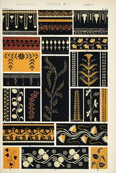 "Image Plate from Owen Jones' 1853 classic, ""The Grammar of Ornament"". Greek Pattern, Pattern Art, Graphic Design Books, Book Design, Wall Patterns, Textures Patterns, Illustration Inspiration, Owen Jones, Motifs Textiles"