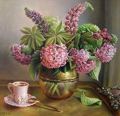 Still Life Oil Paintings By Maria Ilieva - Fine Art Blogger Hydrangea Vase, Hydrangea Painting, Flower Vases, Hydrangeas, Painting Flowers, Mural Painting, Artist Painting, Cross Paintings, Oil Paintings