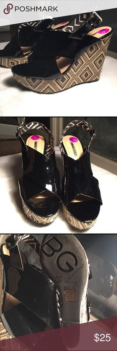 💖BCBG💖 BCBG patent leather tribal print wedge heels-worn once-small scuff mark on toe of the left shoe as shown in last photo BCBG Shoes