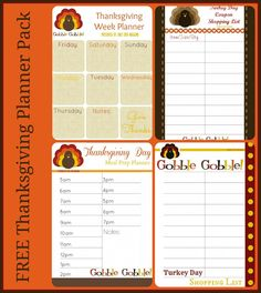 Free Thanksgiving Printable Planner Pack ~ Shopping List, Thanksgiving Week Planner and Thanksgiving Day Planner