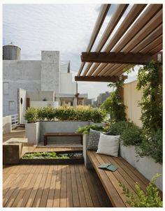 Planters as bench backboard
