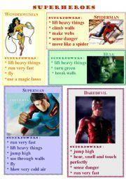 English worksheet: superheroes abilities