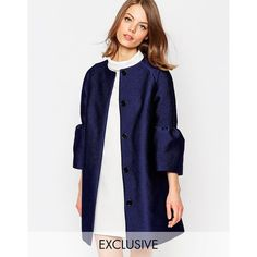 Helene Berman Fluted Sleeve Jacket In Blue (€170) found on Polyvore featuring women's fashion, outerwear, jackets, blue, lined jacket, blue jackets, collarless jacket, helene berman and sleeve jacket