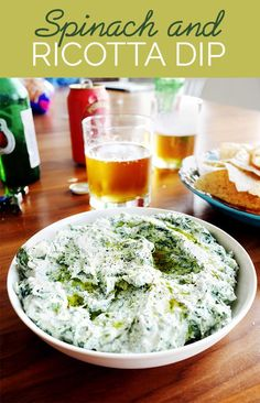 Usually spinach dip has loads of cream cheese and mayonnaise. This has a lighter ricotta base with salty Parmesan and ~just a little~ mayo.Here's how to make the dip:Microwave 1 (10-oz.) package frozen, chopped spinach according to package directions. Squeeze excess water out and mix with 1 cup each ricotta and Parmesan, and ¼ cup mayonnaise. Season with salt and pepper and drizzle with olive oil. Serve with tortilla or potato chips. Makes about 3 cups.