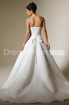 US $145.69 A Line Princess Strapless Chapel Train Satin wedding dress for brides 2010 Style(WDS0243)