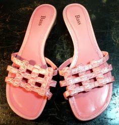 BASS Shoes ~  Pink Women's Waffle Strap Sandals ~ Size 8.5 M #Bass #Slides