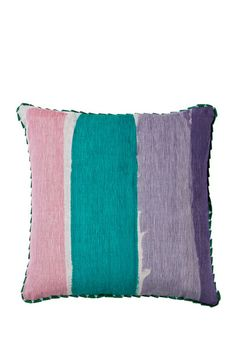 """Screen printed pillow on 100% natural linen with hand painted stripe design in emerald, lilac and pink finished with ribbon trim Dimensions: 20"""" x 20"""" Cover only. Insert not included. Requires a 20"""" x"""