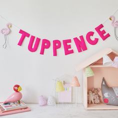 Felt Flamingo name garland / bunting / wall or shelf hanging / baby name gift by Thesecretcrafthouse on Etsy https://www.etsy.com/listing/285664265/felt-flamingo-name-garland-bunting-wall