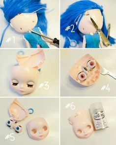 Keep Stock Blythe Make up but get the Matte look by spraying over with Testors Dull Coat.