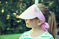How to sew an easy kid's sewing visor, with this free visor sewing pattern. Perfect for keeping your kid's noggins protected from the summer sun's rays.