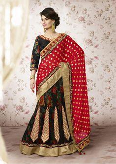Black Net Wedding Lehenga Saree 61208