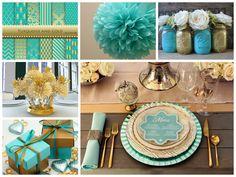 Image result for decoracion fiesta en turquesa y dorado