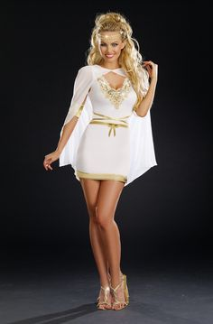 Goddess dress with gold sequin neckline embroidery and trim. The strategically placed zipper across skirt hemline allows the dress to go from ankle length to short and sexy. Once unzipped, the bottom of the dress can be worn as a cape.  Rhinestone headpiece and armbands included. Dress and armband: 100% polyester Hairpiece: 100% METAL